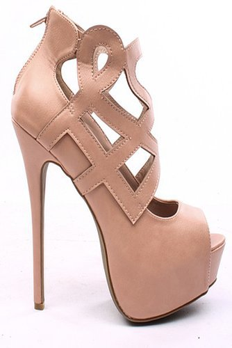 NUDE FAUX LEATHER CUTOUT OPEN TOE PLATFORM BOOTIE HEELS