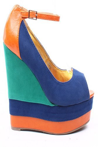 BLUE ORANGE FAUX SUEDE COLOR-BLOCK ANKLE STRAP PLATFORM WEDGE