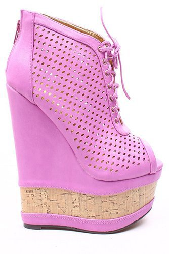 VIOLET FAUX LEATHER PERFORATED LACE UP WEDGE PLATFORM BOOTIE