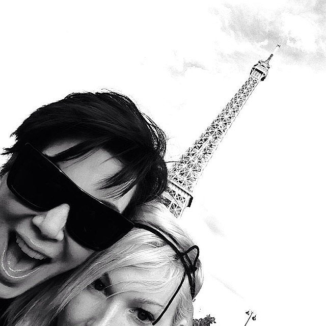 Kris and a pal got animated in front of the Eiffel Tour.  Source: Instagram user krisjenner