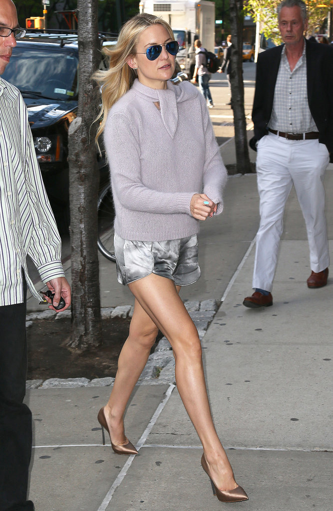 Kate Hudson showed off a leggy look in NYC on Monday.