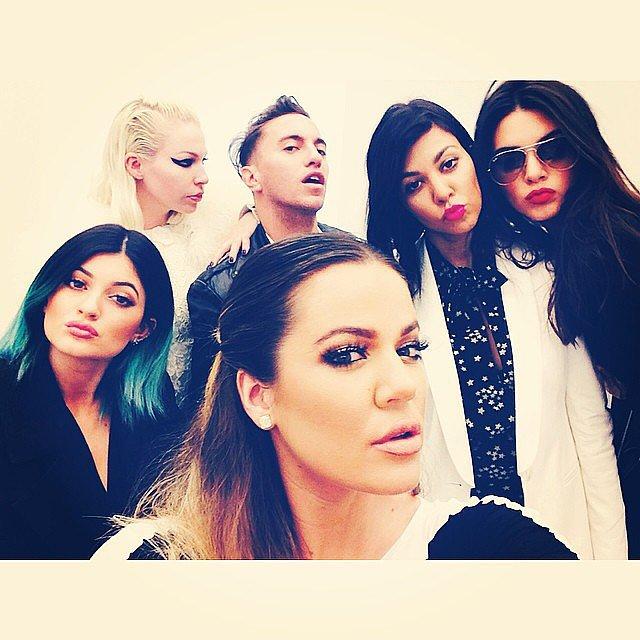 Kendall, Khloé, Kylie, and Kourtney got together with friends for a group shot.  Source: Instagram user khloekardashian
