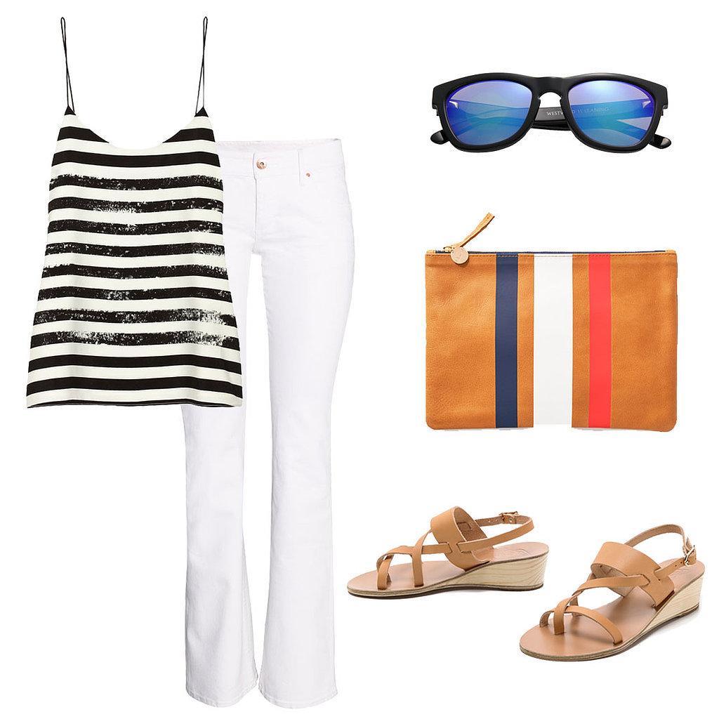 For dinner or drinks, slip into a sophisticated Summer look. Dress up white jeans with silky stripes, then arm yourself with cool-girl shades and a chic clutch. Shop the look:  Tibi Striped Crepe de Chine Camisole ($200) H&M Boot Cut Jeans ($40) Westward Leaning Mercury Seven Square Acetate Sunglasses ($180) Clare Vivier Zip Clutch ($195) Ancient Greek Althea Wedge Sandals ($285)