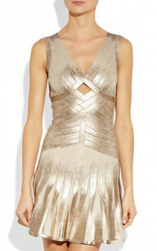 Herve Leger Gold Shimmery Flared V-neck Cutout Bandage DressOutlet