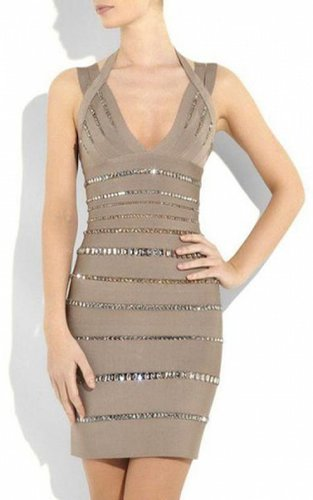 Herve Leger Halter Sleeveless V-neck Crystal Bandage DressOutlet