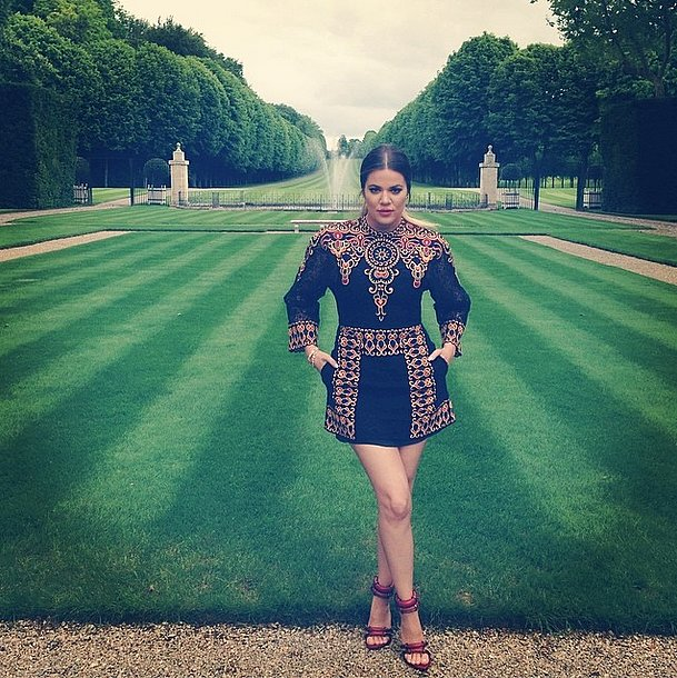 Khloé Kardashian posed in the Chateau de Wideville's gardens. Source: Instagram user khloekardashian