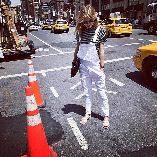 Reinvent your striped tee with a pair of overalls. It's like wearing your striped top with your boyfriend jeans — only better. Source: Instagram user lookdepernille