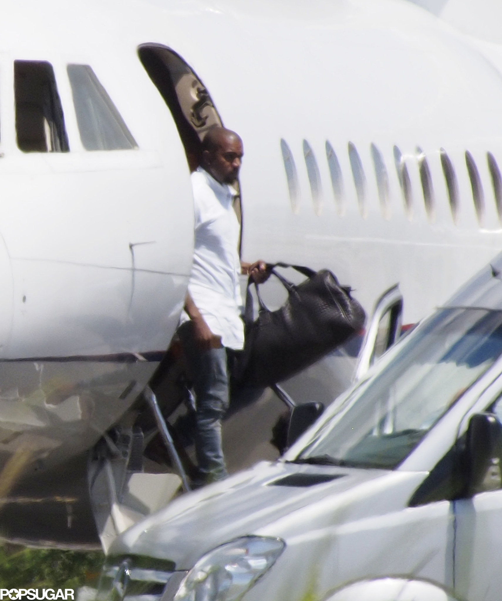 Kanye arrived in Florence separately from Kim.
