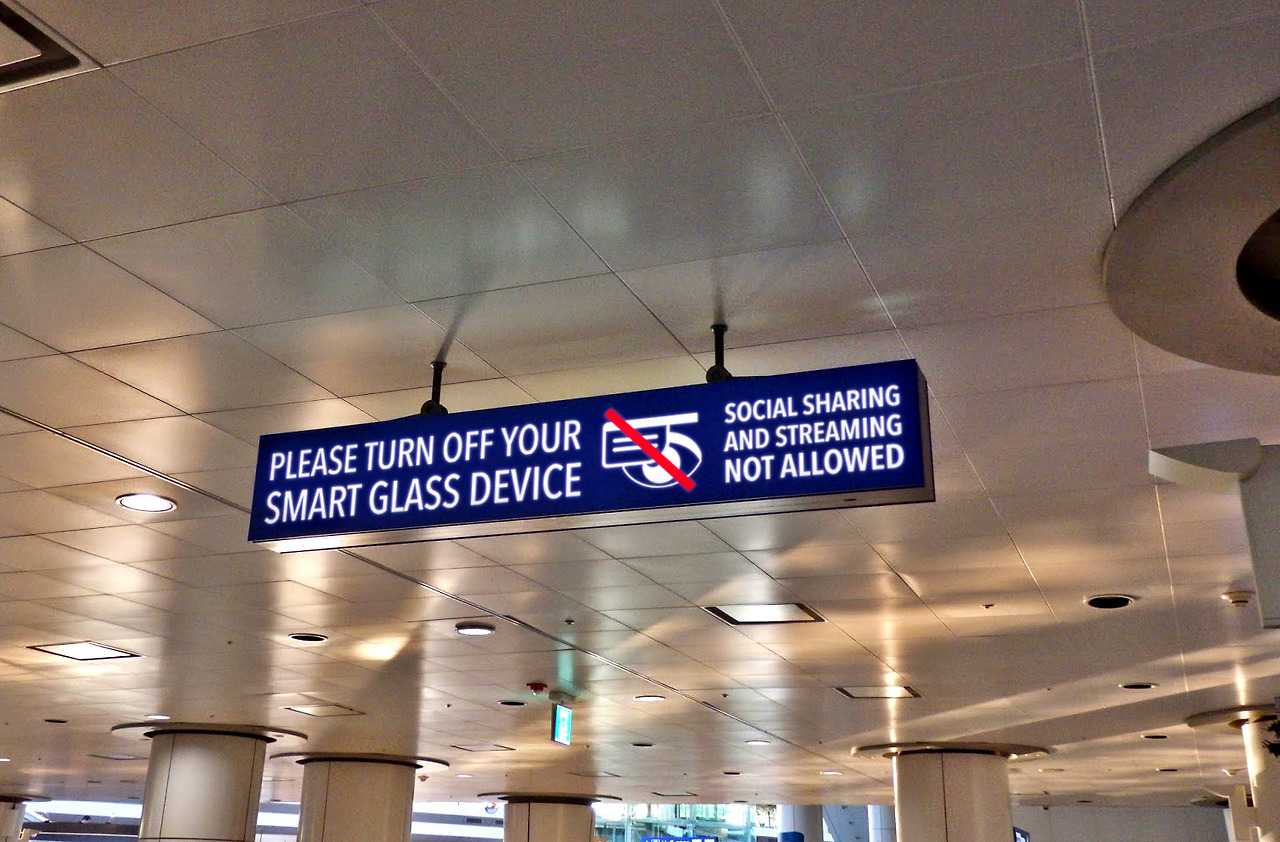 Is this his way of telling us how not to be a creep while wearing Google Glass?  Source: Tumblr user signsfromthenearfuture