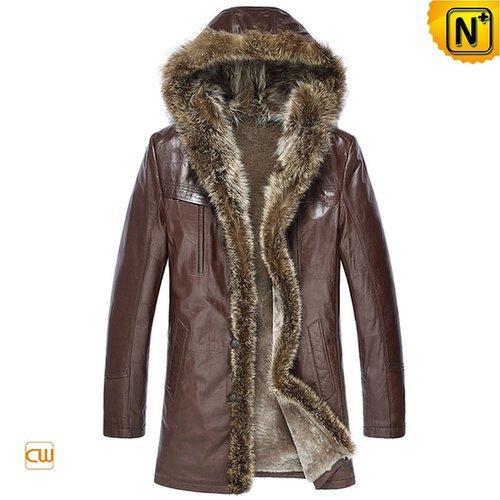 Brown Shearling Fur Coat for Men CW877160