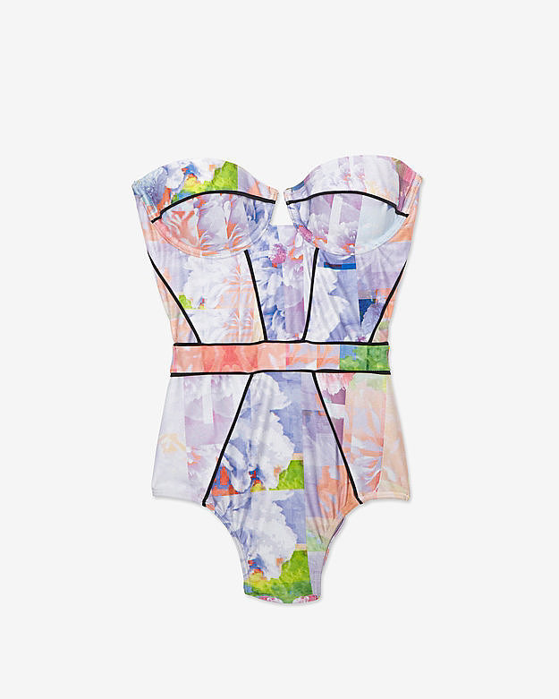 Suboo Floral Print Strapless Swimsuit