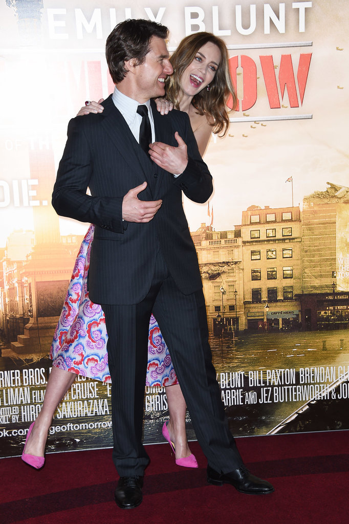 Emily Blunt and Tom Cruise goofed off at the Edge of Tomorrow premiere in London on Wednesday.
