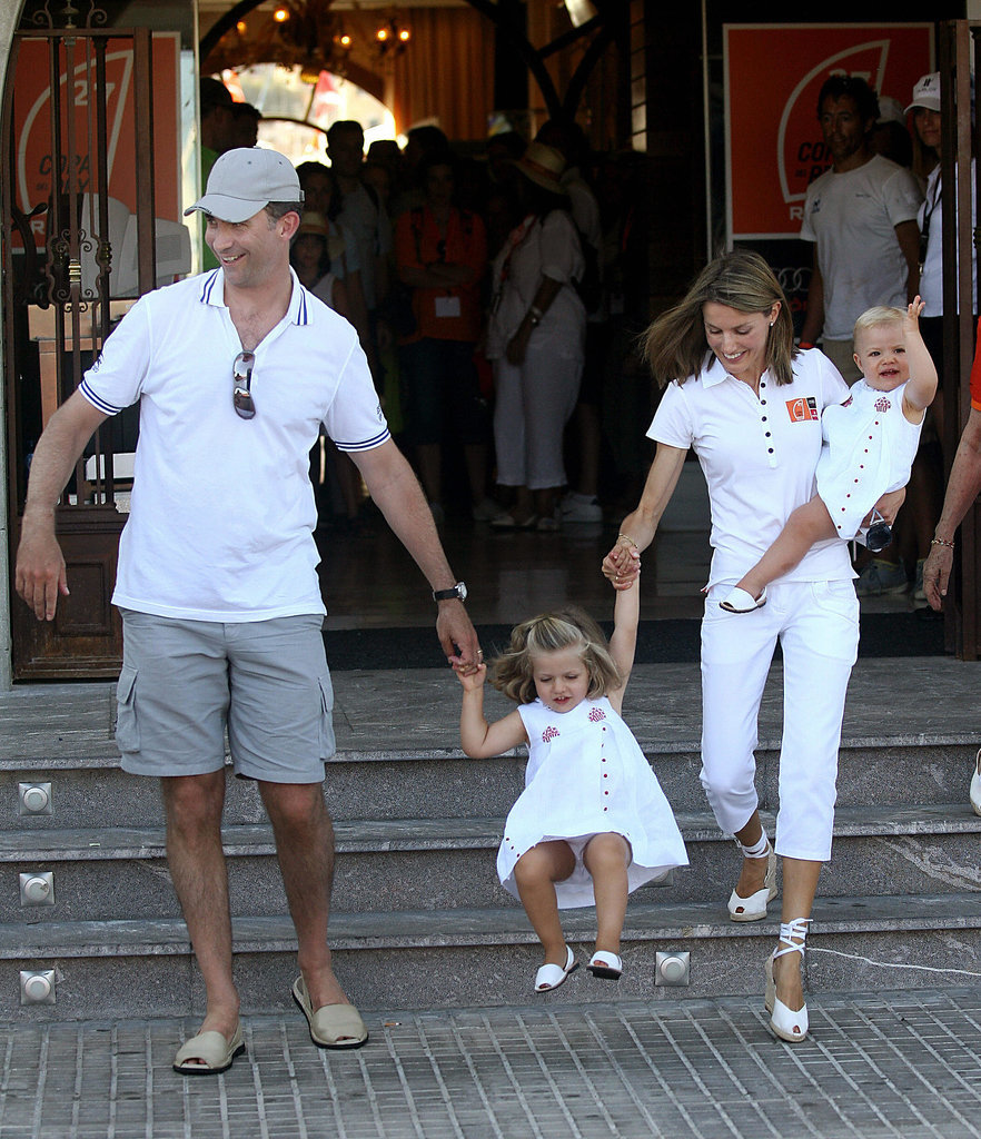 The royal family was photographed during a yacht-club visit in July 2008.