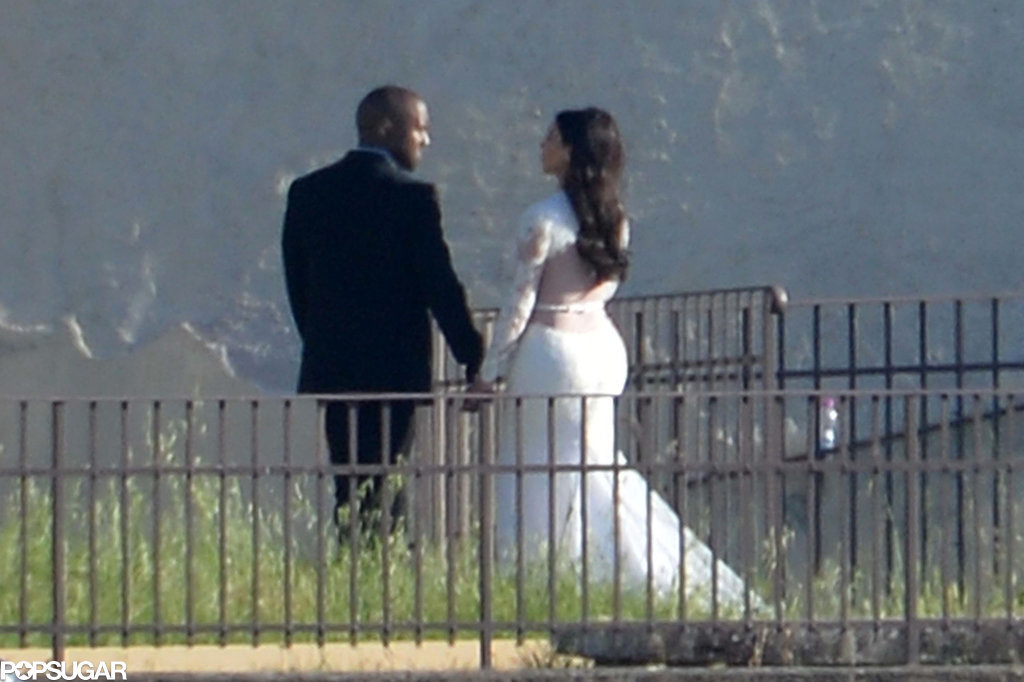 Kim and Kanye held hands.