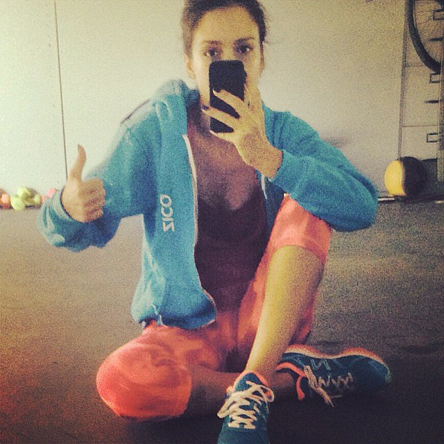Jessica Alba revealed her workout attire. Source: Instagram user jessicaalba