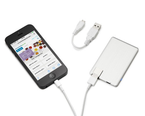This rechargeable power card ($35) is so small, Dad can easily keep it in his wallet. The best part is the folding USB works with cell phones, MP3 players, digital cameras, and more.