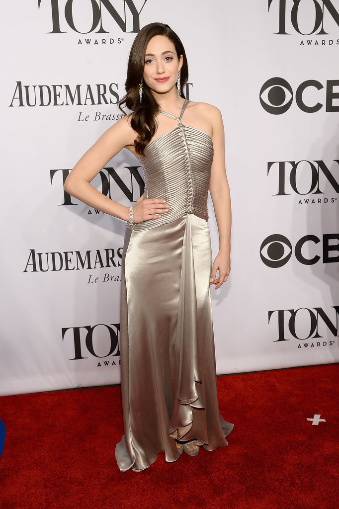 Emmy Rossum wore a silver number.