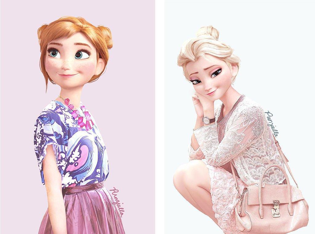 Anna and Elsa as Fashionistas