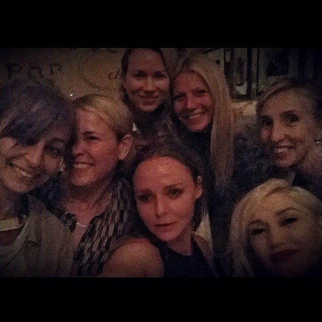 """Gwyneth Paltrow's 2014 """"#girlsnight"""" snap with Nicole Richie, Chelsea Handler, Naomi Watts, Gwen Stefani, and Stella McCartney proved the ladies are actually real-life pals."""