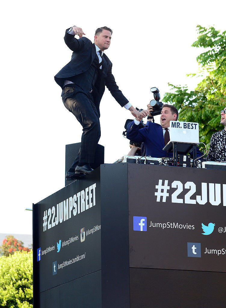 Channing Tatum and Jonah Hill had fun at the 22 Jump Street premiere in LA on Tuesday.