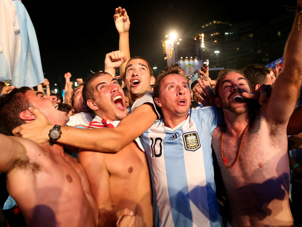 Argentina fans went wild while watching the game against Bosnia in Brazil.