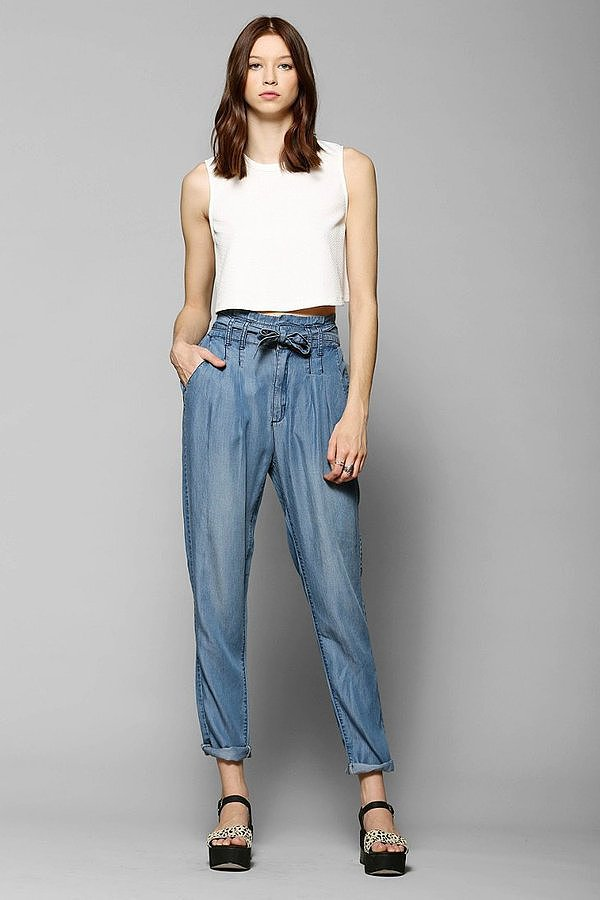 BDG Chambray Paper-Bag Waist Trousers