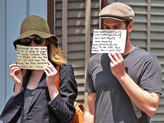 Emma Stone and Andrew Garfield Hide  from the Paps - for a Good Cause