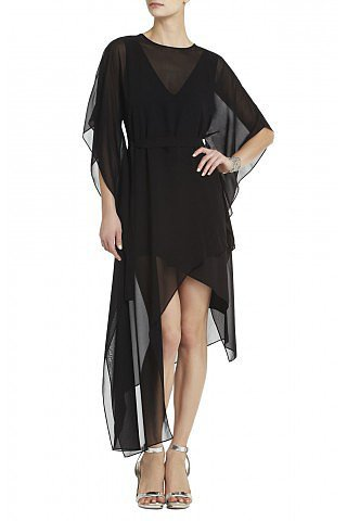 BCBG Suzy Short Sleeves Asymmetrical Draped Plunging Neckline Silk Dress Black