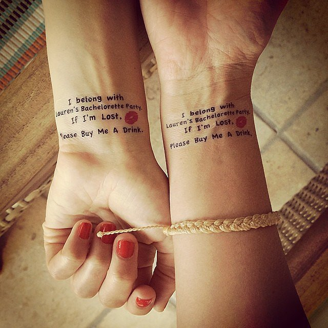 Lo captured the hilarious temporary tattoos the girlfriends got to commemorate Lauren's milestone.  Source: Instagram user lobosworth