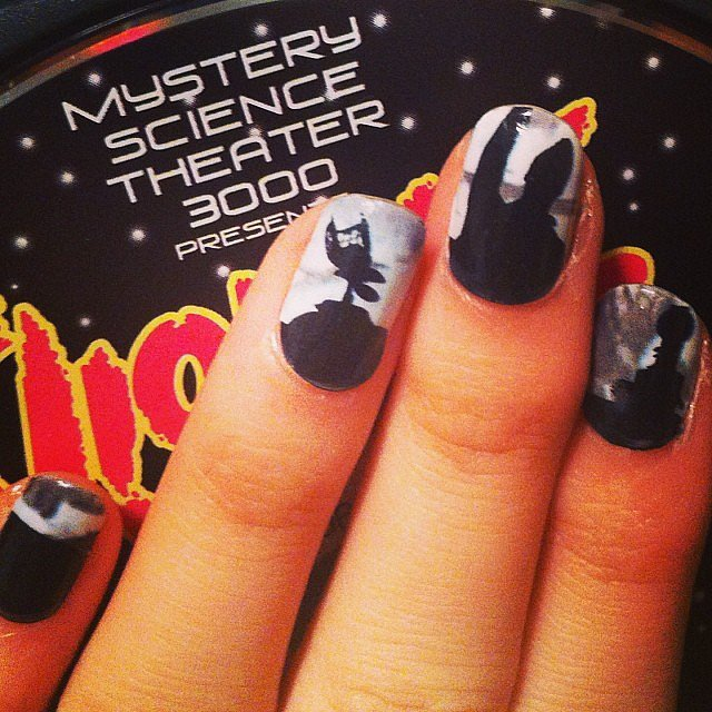 When heckling a bad movie from your living room couch isn't enough, add the robots of Mystery Science Theater — to your nails ($10 for the set) —and have some backup!
