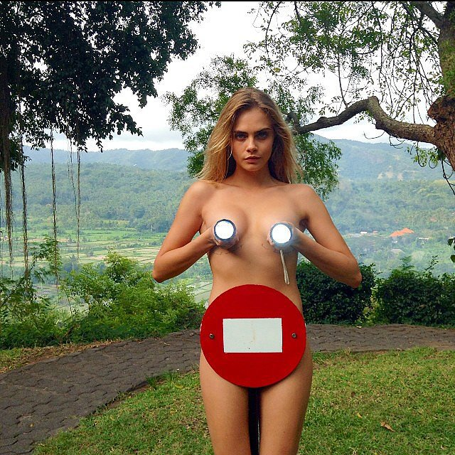 Cara Delevingne went topless in Bali. Source: Instagram user caradelevingne