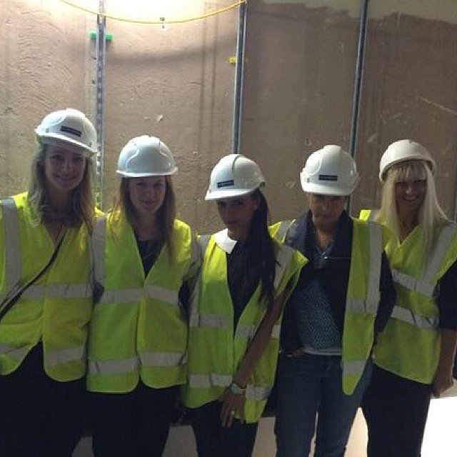 Victoria Beckham wore a hard hat and a bright vest for an architect meeting. Source: Instagram user victoriabeckham