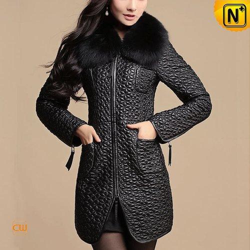 Leather Coat with Fox Fur Collar Women CW613039