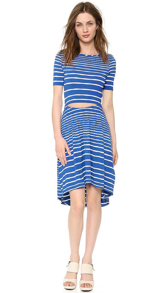 Three Dots Striped Cutout Dress