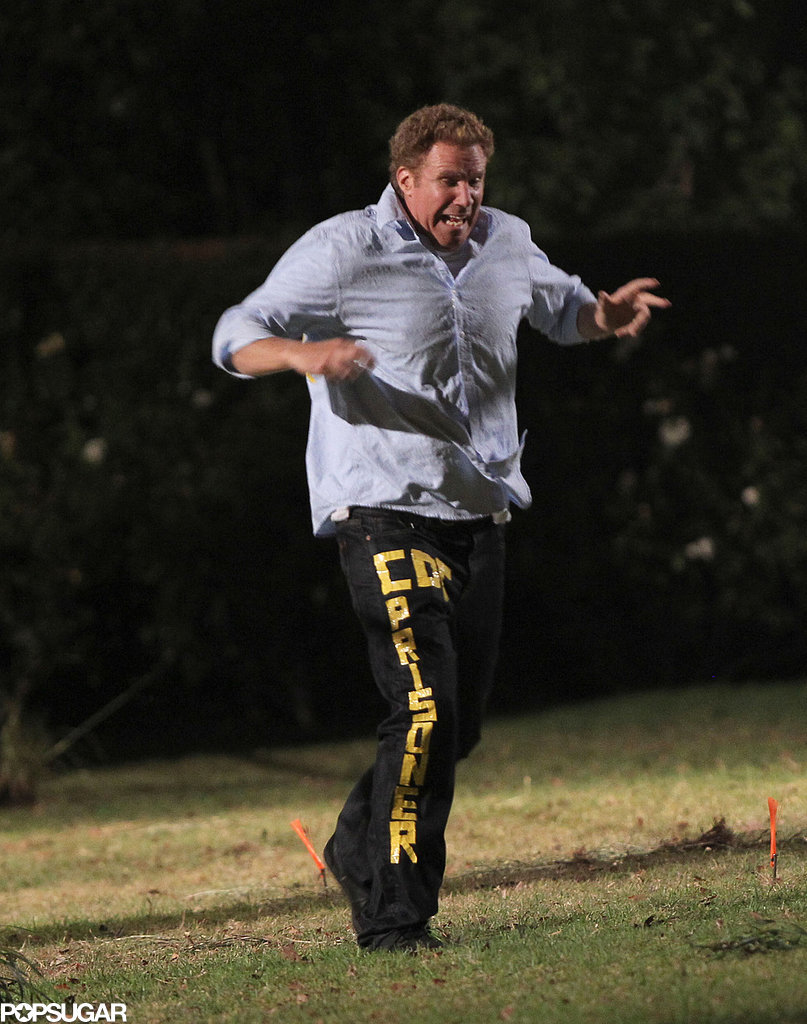 Will Ferrell ran and screamed on the set of Get Hard in LA on Tuesday.