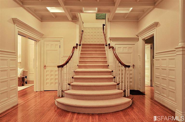 Sure, the stairs are stunning, but can we talk about the graphic wainscoting?  Source: Coldwell Banker