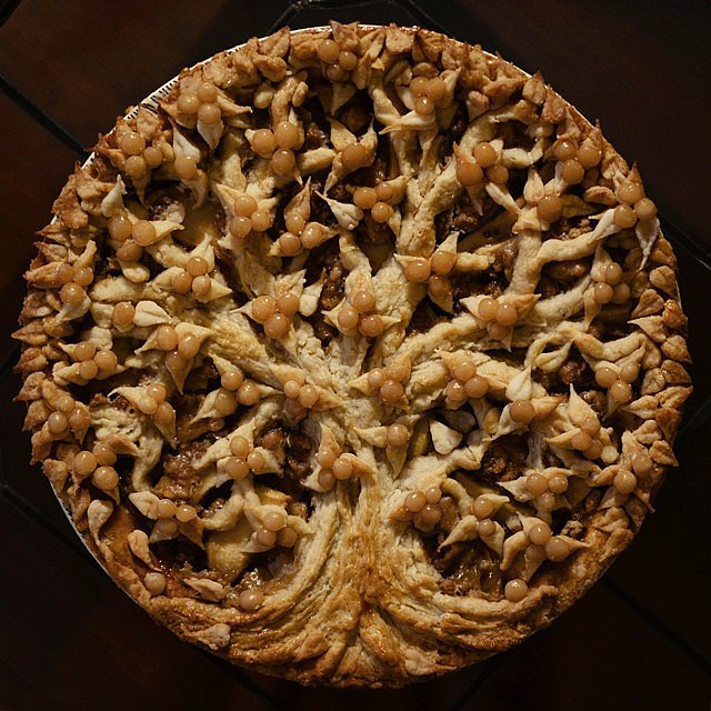 Apple Pie With Crushed Pecans and Salted Caramel