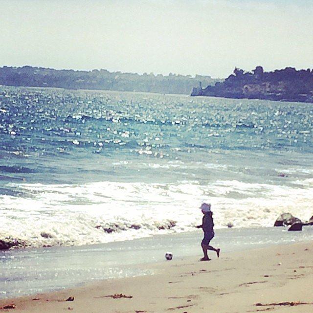 Skyler Berman got in the World Cup spirit while playing on the beach. Source: Instagram user rachelzoe