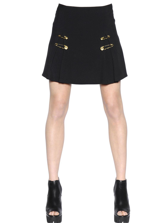 Versus Safety Pin Viscose Crepe Skirt