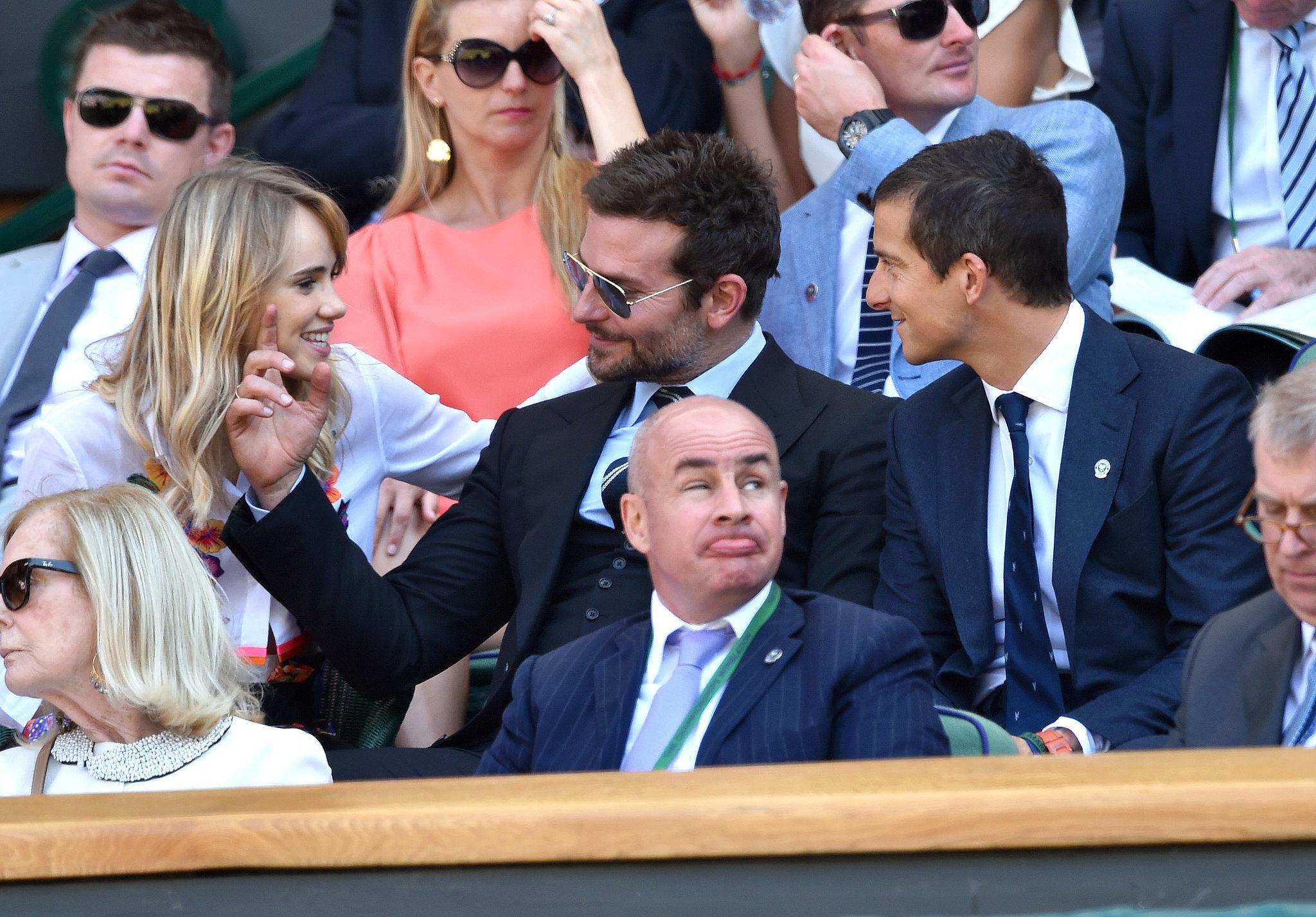 Bradley Cooper and Suki Waterhouse got adorable at the semifinal match between Novak Djokovic and Grigor Dimitrov.
