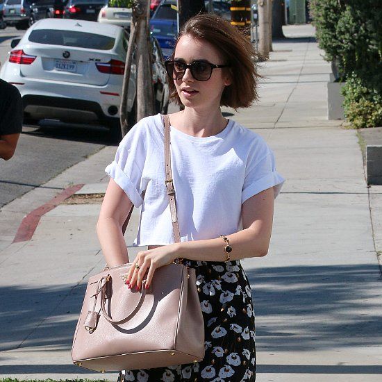 lily collins street style how to wear a white tshirt