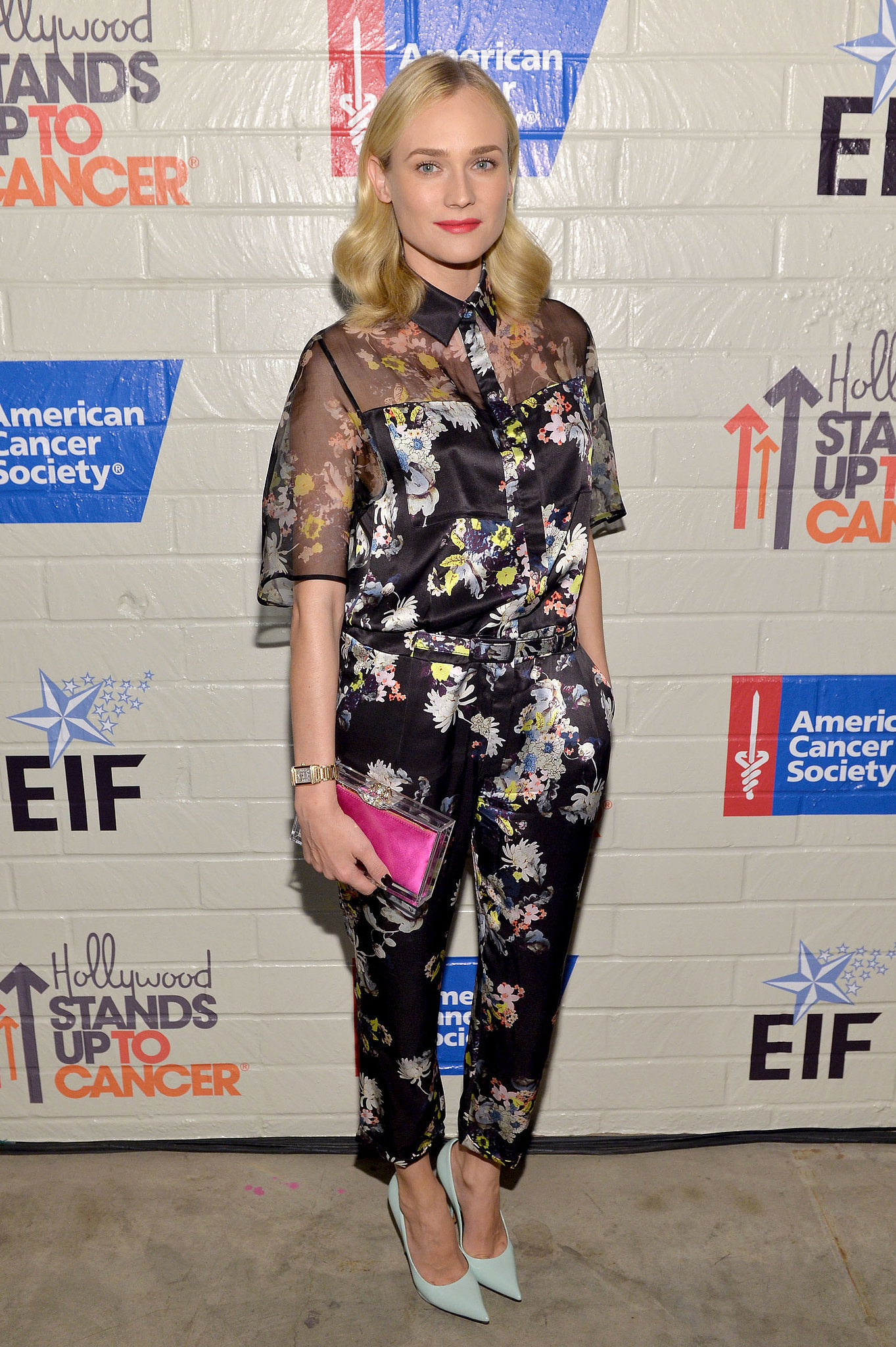 Kruger epitomized cool-girl style in a garden-print Erdem jumpsuit in January 2014.
