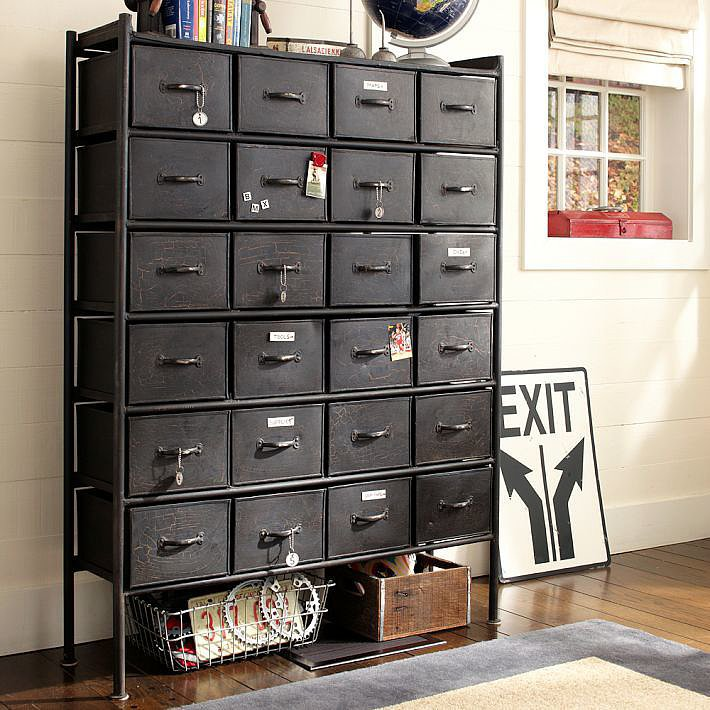 Resembling an antique file cabinet, this Rockwell Metal Chest of Drawers ($1,040, originally $1,299) would be a stunning storage unit for stowing away lingerie, socks, swimsuits, and accessories.