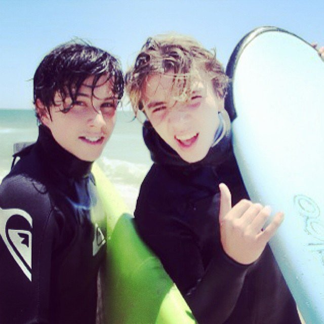 Madonna's son, Rocco Ritchie, took to the waves with a pal. Source: Instagram user madonna