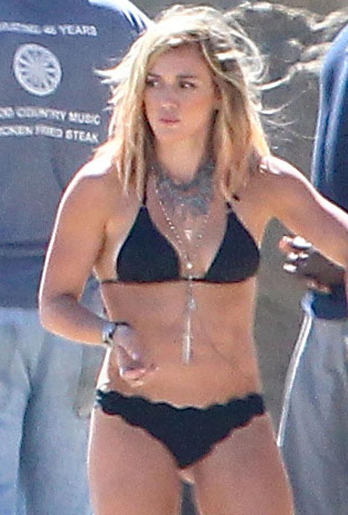 hilary duff wears a bikini during music video shoot 2014