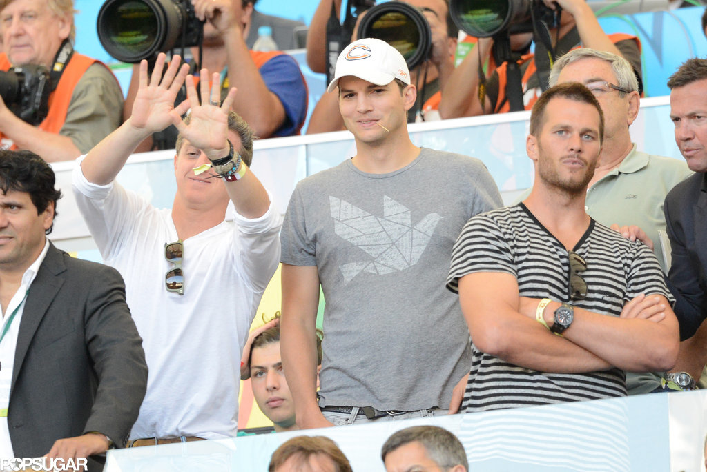 Ashton Kutcher and Tom Brady hung out together in the stands.