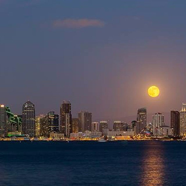 The supermoon hangs out over the San Diego skyline back on July 12. Source: Instagram user sandiegoreader