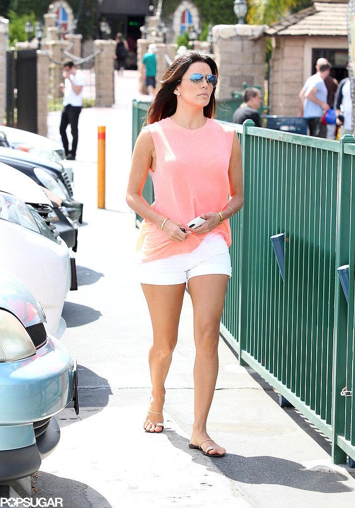 Eva Longoria wore shorts around LA on Saturday.