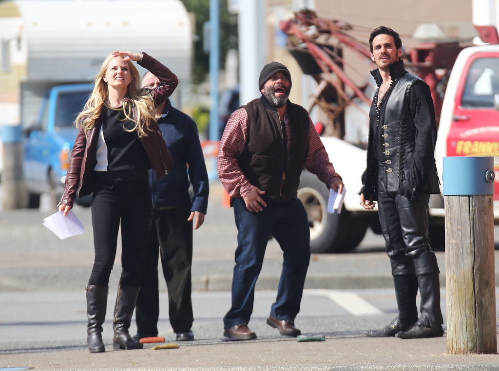 Emma (Jennifer Morrison) and Hook (Colin O'Donoghue) looked worried with Grumpy (Lee Arenberg) on Thursday.