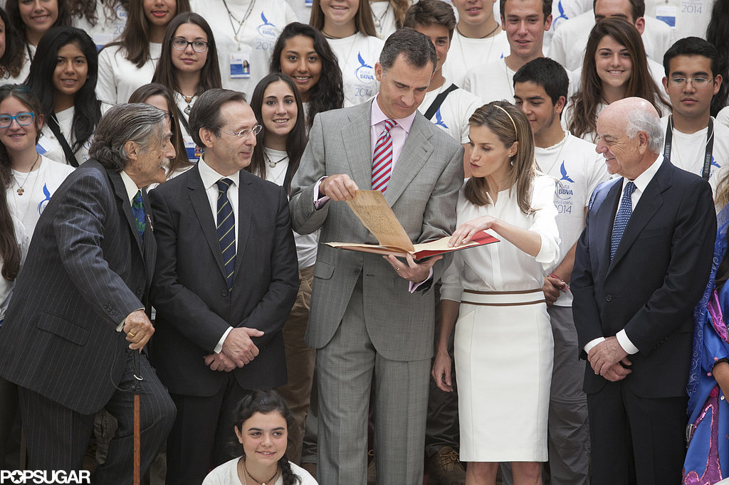 King Felipe VI and Queen Letizia of Spain read during a reception in Madrid, Spain.